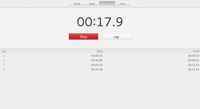 Stopwatch showing some splits