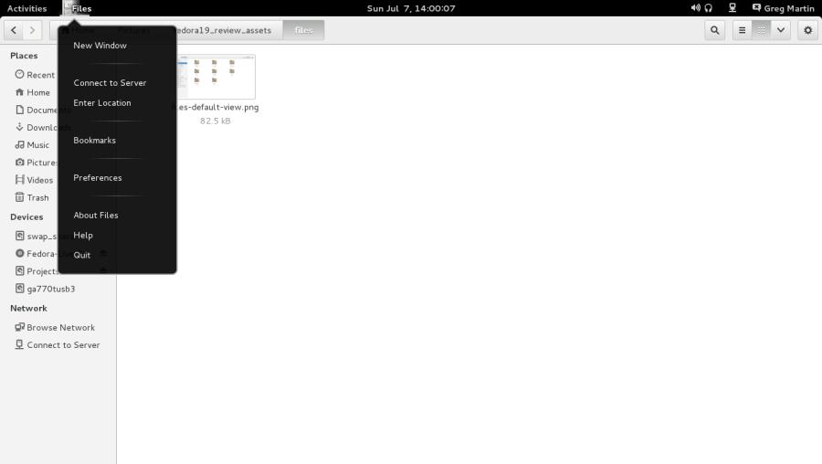 The menu location in GNOME